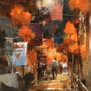 Чиен Чунг-Вэй (Chien Chung-Wei) художник - One Night in Jiufen